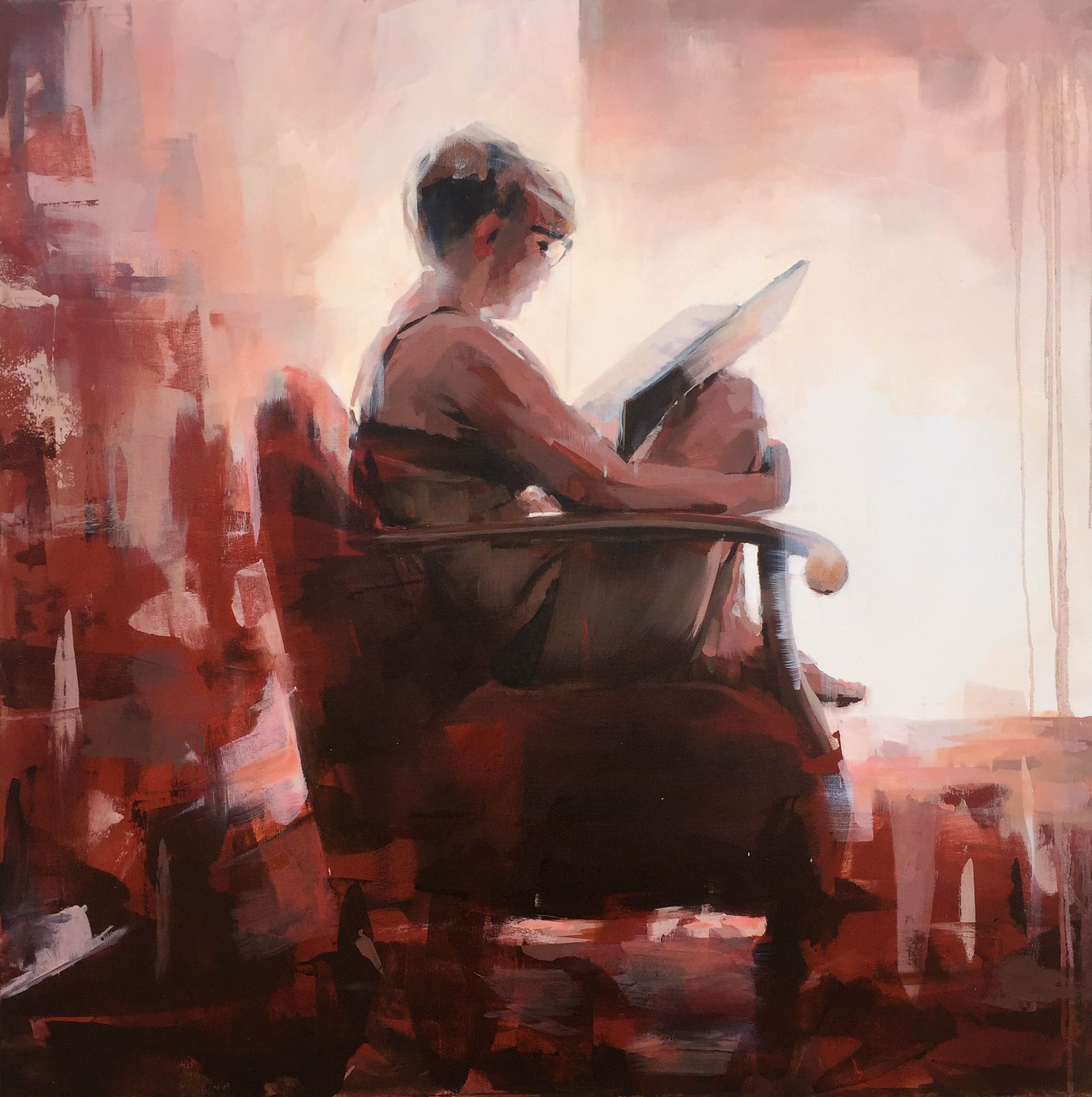 """Reading Poe"" 100x100 cm."